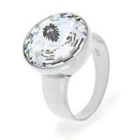 Bague Crystal Jewellery, Solitaire blanc