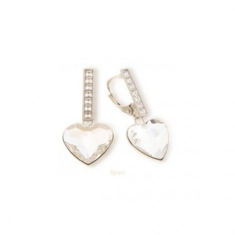 Boucles d'oreilles, Crystal Jewellery, Coeurs Blancs