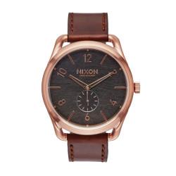 Montre Nixon, C45, cadran rond brun avec un effet texturé brun, tour de cadran rose doré, bracelet en cuir marron - A465-1890-00