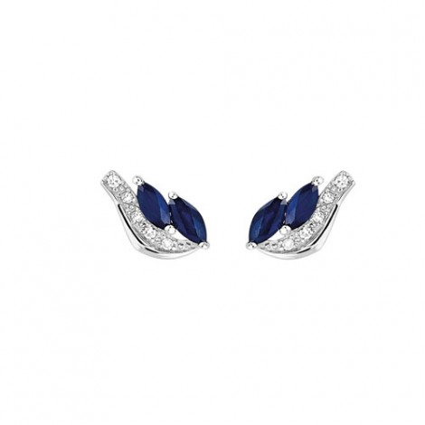 Boucles d'oreilles Saphirs + Diamants - or 9 carats