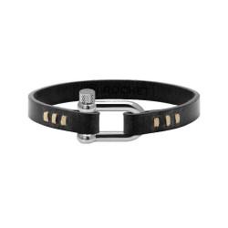 Bracelet Milano, Rochet Milo Vintage en cuir noir