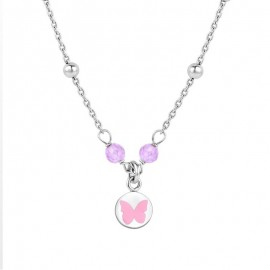Collier Naiomy Princess, Papillon rose