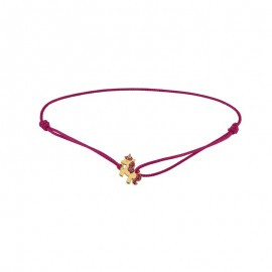 Bracelet Licorne, bracelet cordon rose et motif en or 9 carats