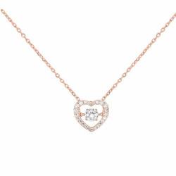 Collier Coeur avec oxydes de zirconium, en or 375 millièmes rosé