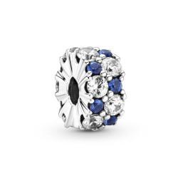Pandora Clip Scintillant Blanc & Bleu - 799171C01
