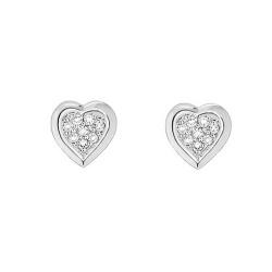 Boucles d'oreilles Coeurs Diamants or gris 9 carats