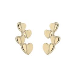 Boucles d'oreilles multitudes de Coeurs en or 9 carats
