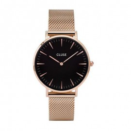 Montre Cluse, Boho Chic Mesh Rose Gold Black, CW101201003