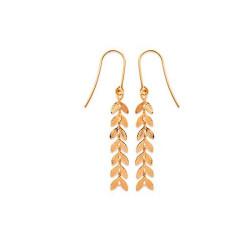 Boucles d'oreilles pendantes Feuilles en plaqué or