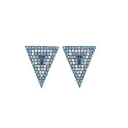 Boucles d'oreilles Triangles empierrées de turquoises et d'oxydes de zirconium, en argent