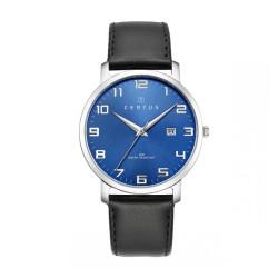 Montre Certus, cadran rond bleu, bracelet cuir noir 611058