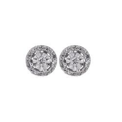 Boucles d'oreilles Rondes Diamants et or 375 millièmes