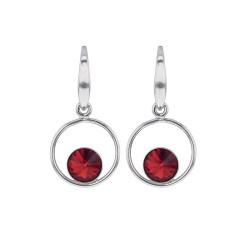 Boucles d'oreilles, Crystal Jewellery, pendantes avec un cristal Rouge.