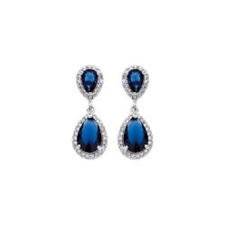 Boucles d'oreilles pendantes pierres bleues et blanches, en argent