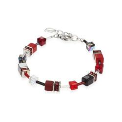 Bracelet Coeur de Lion, Geo Cube, Gris rouge