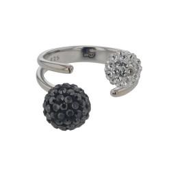 Bague Crystal Jewellery, Boules Noire et blanches