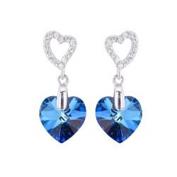 Boucles d'oreilles Crystal Jewellery, Coeur bleu
