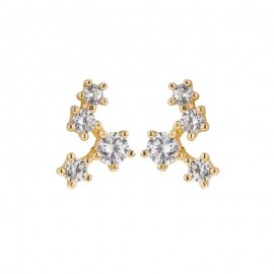 Boucles d'oreilles Constellations or jaune et oxydes de zirconium