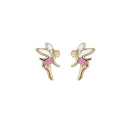 Boucles d'oreilles Fée rose, en or 375 millièmes