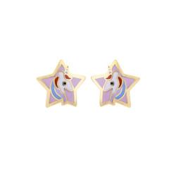 Boucles d'oreilles Etoiles avec Licorne, en or 375 millièmes