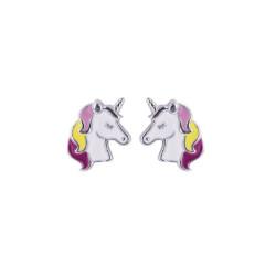 Boucles d'oreilles Tête de Licorne en argent